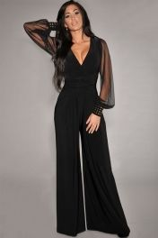 Black Embellished Cuffs Long Mesh Sleeves Jumpsuit, $24.99