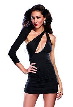 Dreamgirl Women's Sexy Bodycon Asymmetrical Jersey Knit Club Mini Dress, Black, Small Dreamgirl http://www.amazon.com/dp/B00PBRL308/ref=cm_sw_r_pi_dp_BSFxvb0J270EY