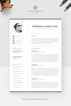 CV template with photo for a modern and professional job application. Save time with an easy-to-use template, and make your CV stand out with a clean and polished design. One Page Resume Template, Modern Resume Template, Creative Resume Templates, Creative Cv, Cv Design, Resume Design, Graphic Design, Cover Letter For Resume, Cover Letter Template