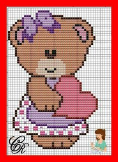This Pin was discovered by Ros Cross Stitch For Kids, Cross Stitch Baby, Cross Stitch Kits, Cross Stitch Embroidery, Cross Stitch Patterns, Pixel Crochet Blanket, C2c Crochet, Baby Blanket Crochet, Crochet Baby