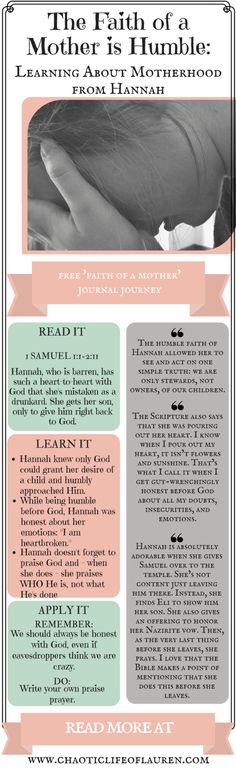 """Behind Mary and Eve, Hannah is probably the most well-known mother in the Bible. Often mentioned in baby dedication services, no series titled """"The Faith of a Mother"""" would be complete without examining her humble faith. New Quotes, Bible Quotes, Faith Quotes, Funny Quotes, Mothers In The Bible, Baby Dedication, Biblical Womanhood, Christian Women, Christian Living"""