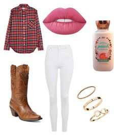"""""""Cowgirl outfit"""" by ambyrlynwalsh on Polyvore featuring R13, Topshop, Ariat and Lime Crime"""