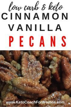 These low carb, keto cinnamon vanilla butter glazed pecans are so delicious, we're certain that they'll soon become your new favorite snack! With 35 grams of healthy fat and only 2 net carbs per half… Low Carb Desserts, Low Carb Recipes, Diet Recipes, Cooking Recipes, Smoothie Recipes, Cooking Dishes, Snacks Recipes, Appetizer Recipes, Easy Recipes