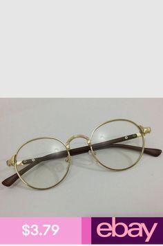0b53f88c415 New Oval Gold Eyeglass Frame Man Women Plain Glass Clear Full-Rim Spectacles