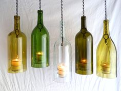 Clear Wine Bottle Hanging Hurricane Lanterns for patio