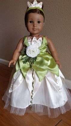 """Princess Tiana (The Princess and the Frog) dress outfit for American Girl and 18"""" Dolls."""