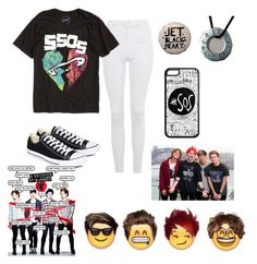 """""""5sos!"""" by kalonmed ❤ liked on Polyvore featuring Topshop and Converse"""