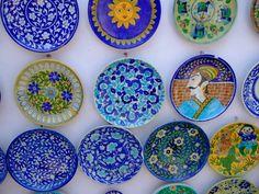 Jaipur's Famous Blue Photo by Barbara Perrine Chu Blue Pottery Jaipur, Carpet Shops, Love Blue, Plates On Wall, Handicraft, Painted Rocks, Decorative Plates, India, Prints