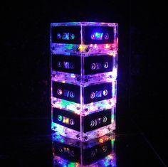 Modern Night Light Mixtape Table LampRepurposed Cassette Tape Mood Light Multi-Color Rainbow. $69.00, via Etsy.