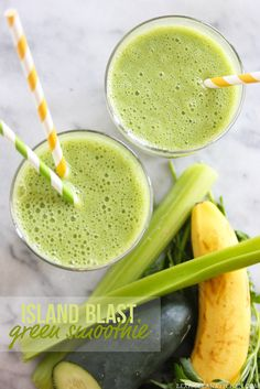 Island Blast Green Smoothie - Dairy-free | Lexi's Clean Kitchen