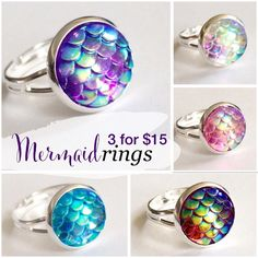 3 for 15 mermaid scale ring Handmade by me iridescent scale acrylic bead 1/2 inch 12mm earrings on silver plated adjustable from 6.25 inch & larger ring. Available in gold, rose gold & gunmetal ring. Minimum purchase is $15. Additional rings/earrings $5. Price firm. Can mix/match Drusy style or picture earrings. Made of acrylic resin  DOES NOT WORK WITH ADD TO BUNDLEPlease comment under the items you want so I can make your listing Jewelry Rings