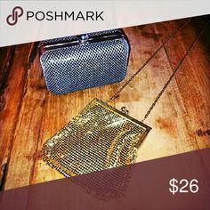 Bebe clutch and gold party purse bundle! The black and silver, a Bebe clutch, the gold, a small party purse. bebe Bags Clutches & Wristlets