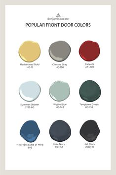 Check out some of of the most popular front door colors from Benjamin Moore to give your front door a dose of fresh color, perk up a home's exterior and extend a gracious welcome. Best Front Door Colors, Best Front Doors, Front Door Paint Colors, Painted Front Doors, Benjamin Moore Exterior, Benjamin Moore Paint, Exterior Paint Colors For House, Paint Colors For Home, Paint Colours
