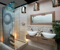 Hele mooie badkamer! Mooi kleurgebruik en vooral de mozaïektegels zijn heel gaaf gedaan.