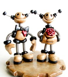 Rustic Robot Wedding Cake Topper MADE TO ORDER by RobotsAreAwesome, $110.00