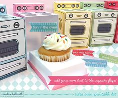 retro oven -  cupcake box printable PDF kit