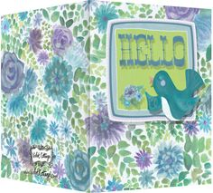 Hello with little happy bird on watercolor background. Blank inside. Available wholesale or retail:  http://www.violetcottage.com/thinking-of-you/34-hello-friend-card-blank-inside-purple-turquoise-flower-with-bird.html