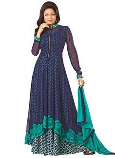 Drashti Dhami Blue Anarkali Dress