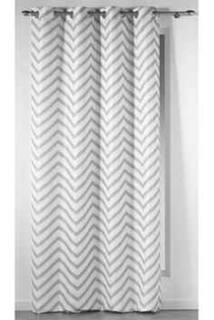 Rideau à oeillets imprimé blanc / gris