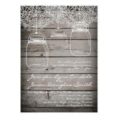 Mason Jar Lace Barn Wood Wedding Invitations for a rustic country wedding. Mason Jar Wedding Invitations, Country Wedding Invitations, Rustic Invitations, Lace Mason Jars, Hanging Mason Jars, Country Style Wedding, Rustic Wedding, Lace Wedding, Wedding Ideas