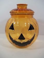 Glass Jack o Lantern Halloween Pumpkin Canister/Cookie Jar & Lid w/Seal