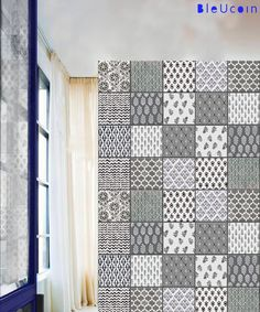 Tile decal: India block printing by Bleucoin on Etsy