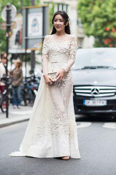 So stunning all laced up. Paris #ElieSaab