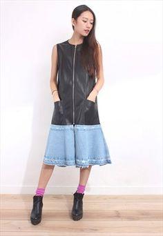 Denim Hem Sleeveless Leather Long Dress