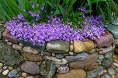 Rockery Garden, Hillside Garden, Pebble Mosaic, Mosaic Rocks, Stone Edging, Landscape Edging, Garden Projects, Mosaic Projects, Plant Wall