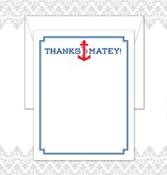 Thanks Matey Anchor Stationery Set of 10 note cards with envelopes by Spilling Beans