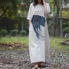 Linen Color Oversize Plus size Loose Fitting long dress by MaLieb