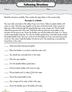 Printables Reading Comprehension Worksheets 3rd Grade Free to be words and student on pinterest reading for comprehension following directions tornado in a bottle activity
