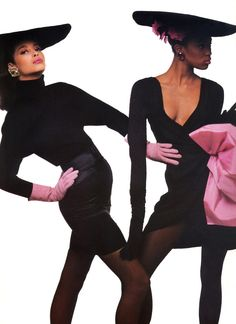 """Mode C'Est Ca!"", VOGUE France, August 1987 Photographer: Bill King Models: Christy Turlington and Naomi Campbell"