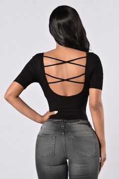 - Available in Black and Mauve - Scoop Neckline - Criss Cross Back - Cheeky Bottom - Clip Closure - 95% Cotton, 5% Spandex
