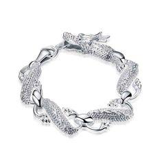 silver plated jewelry bracelet fine fashion white dragon bracelet and retail SMTH036