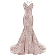 Beilite Sequins Mermaid Prom Dress Straps Backless Party Gown Rose... ❤ liked on Polyvore featuring dresses, backless party dresses, backless sequin dress, backless prom dresses, rose gold dress and sequin prom dresses