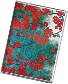 Passport Cover  Red Floral on Blue and Green  by rabbitholeonline, $5.25