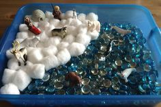 Our Arctic Sensory Bin - It contains blue and clear gems, cotton balls and the arctic safari toob - Preschool Activity