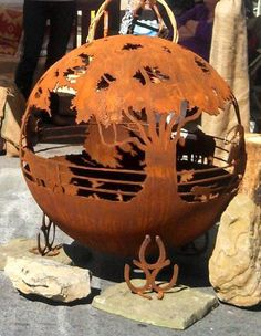 Round Up 37 Ranch Steel Fire Pit Sphere with by TheFirePitGallery: