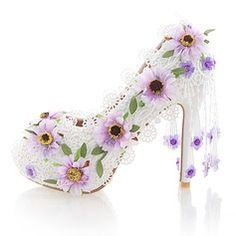 Women's Real Leather Stiletto Heel Peep Toe Platform Pumps With Flower