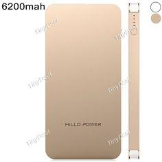 HiLLO Platinum Series I 6200mAh Polymer Dual USB Power Bank External Battery Charger EBTPH-368007