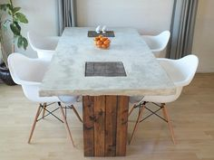 diy concrete dining table 11 DIY Dining Tables To Dine In Style other