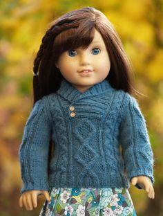 """AMAZING ARAN""--Handmade Sweater and Skirt for 18"" Dolls such as American Girls #GracesGifts #PixieFaire #LibertyJanePleatedSkirt #CrossoverCollarAranPattern"