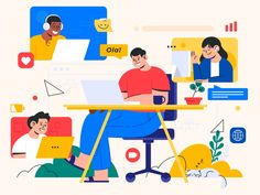 Conference Rooms - Illustration by Dipa Inhouse Man Illustration, Flat Design Illustration, Business Illustration, Creative Illustration, Character Illustration, Character Drawing, Character Design, Email Template Design, Powerpoint Free