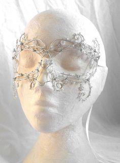 Silver vine masquerade mask
