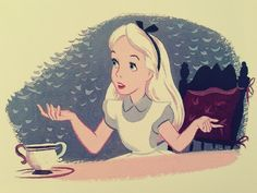 Adventures in wonderland, alice in wonderland, alice tea party, mad world. Alice Tea Party, Adventures In Wonderland, Wonderland Alice, Disney Fan Art, Disney Pics, Vintage Disney, Fairy Tales, Concept Art, Aurora Sleeping Beauty