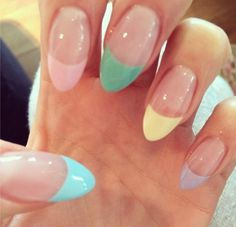 Pastel colours are always in. We love these nails, each nail a different colour adds an edge and brightens up your fingers. #nails #nailcolour #pastelcolours