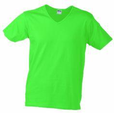 James & Nicholson Herren T-Shirt Slim Fit V-Neck, frog, L, JN912 fr