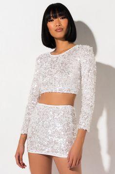 bodycon mini skirt by AKIRA Bar Outfits, Crop Top Outfits, Stage Outfits, Girly Outfits, Vegas Outfits, Stylish Outfits, Club Outfits, Night Outfits, Sequin Crop Top
