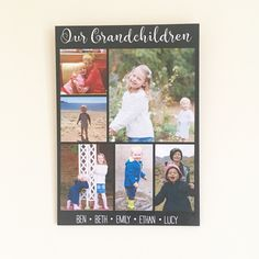 Personalised Photo Plaque, Our Grandchildren Photo Collage, Grandparents Photo Gift, Photo on Wood, Unique Photo Display, Multi Photo Frame by PurpleHeartUK on Etsy https://www.etsy.com/uk/listing/488877368/personalised-photo-plaque-our